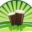 St. Patrick - Stout beers with shamrocks — Stock Vector