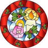 Christmas stained glass decoration — Stock Vector