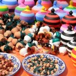Stall of colored pottery — Stock Photo