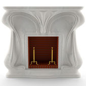 3D white marble fireplace — Stock Photo
