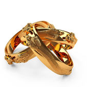 3D gold ring three snake — Stock Photo