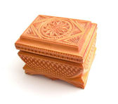 Wooden casket with a carving — Stock Photo