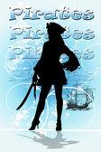 A female pirate silhouette — Stock Photo