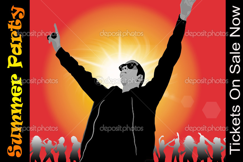 A singer/DJ with his hands in the air — Stock Photo #2747785