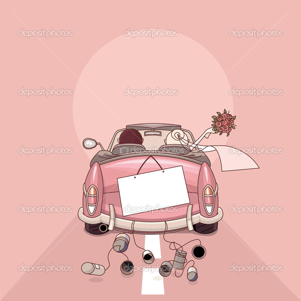 Just married on car driving to their honeymoon — Stock vektor #3079473