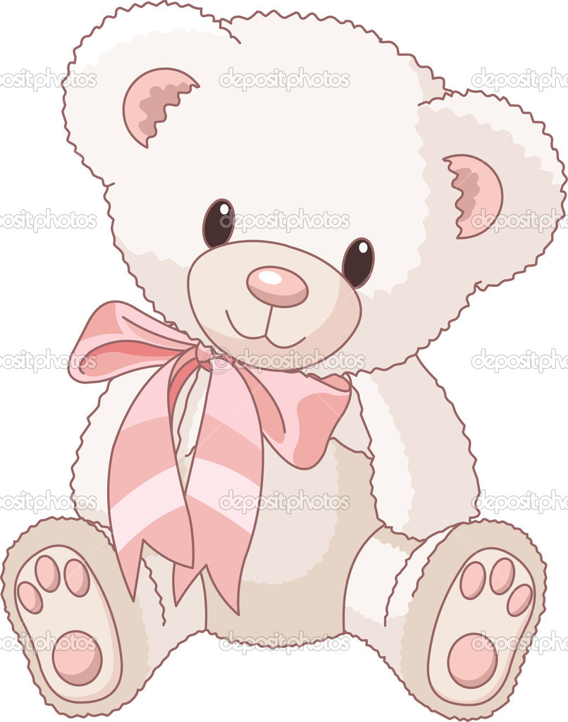 Illustration of Very Cute Teddy Bear with bow  Stock Vector #3348011