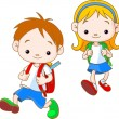 Kids going to School - Stock Vector