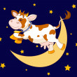 Cow Jumping Over the Moon - Stock Vector