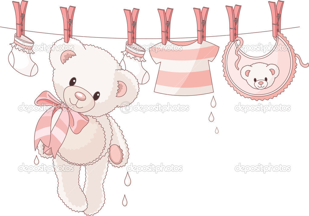 Cute Teddy bear after washing hanging between baby laundry on a rope  Stock Vector #3615703