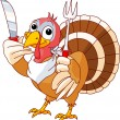 Thanksgiving Turkey with knife and fork - Stock Vector