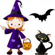 Witch Girl pointing - Stock Vector