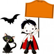 Dracula Boy holding blank sign - Stock Vector