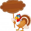 Thanksgiving Turkey with sign - Stock Vector