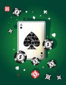 Spade ace on green felt — Stock Vector