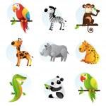 Different bright animals — Stock Vector