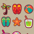 Vacation and travel vector set. - Vettoriali Stock
