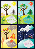 Four seasons vector — Stok Vektör