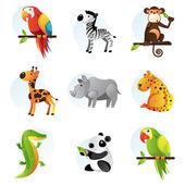 Diferentes animales brillantes — Vector de stock