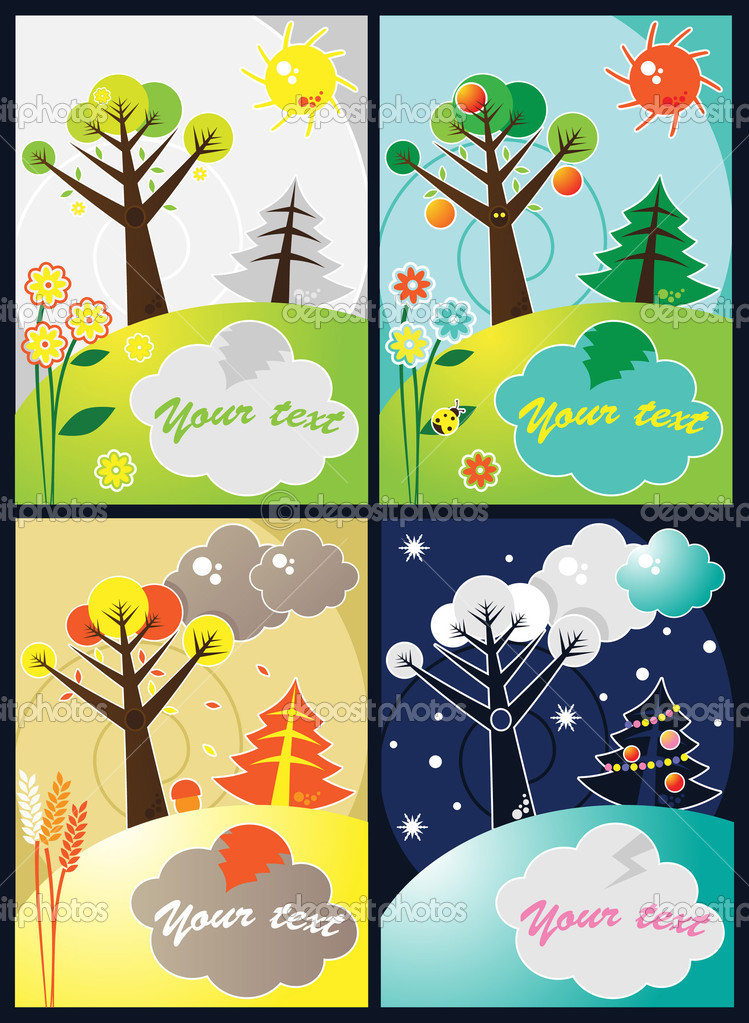 Four seasons vector set  Stock Vector #2912890