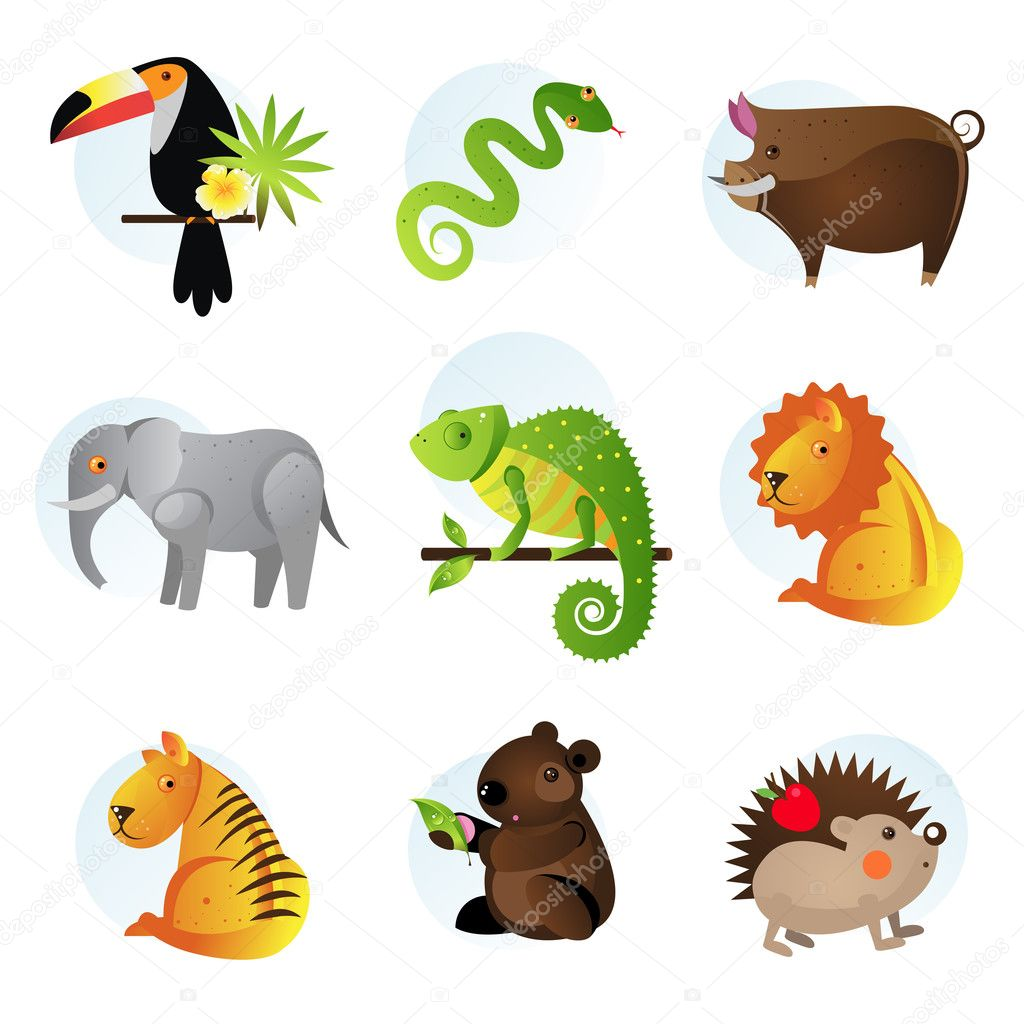  Different bright jungle and safari animals  Stock Vector #2912899