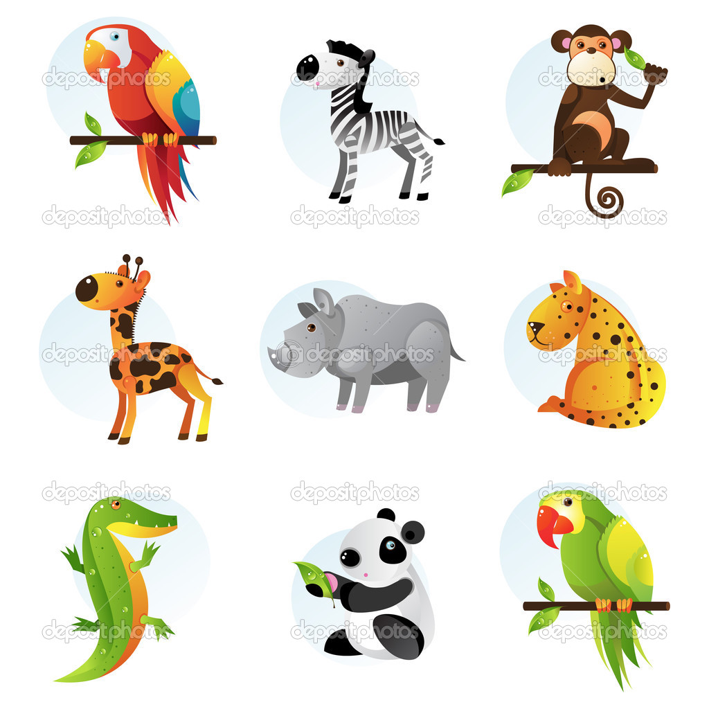  Different bright jungle and safari animals  Stock Vector #2912905