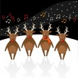 Stock Vector: Singing Reindeer.