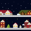 Stock Vector: Winter christmas landscape at night