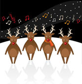 Singing Reindeer. — Stock Vector
