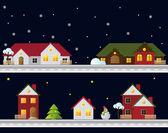 Winter christmas landscape at night — Cтоковый вектор