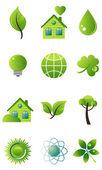 Conjunto de iconos de vector verde — Vector de stock