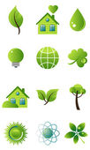 Green vector icon set — Stock Vector