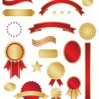 Classic gold and red awards and swirls - Stock vektor