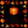 Halloween symbols flying around pumpkin - 图库矢量图片