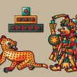 Leopard, pyramid and Indian man - Image vectorielle