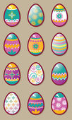 Easter eggs icon set — Stock Vector