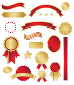 Classic gold and red awards and swirls — Vettoriale Stock