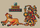 Leopardo, pirámide y hombre indio — Vector de stock