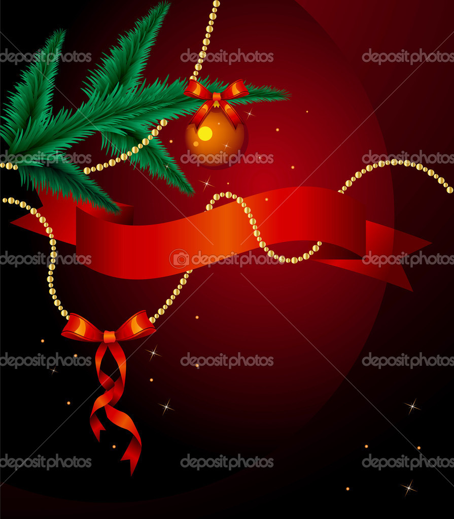 Decorative Christmas background with fir tree, bows and balls — Stock Vector #2964371