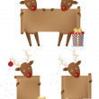 Reindeers holding scroll banner — Vecteur #2973449