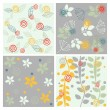 Vector floral seamless patterns — Stock Vector
