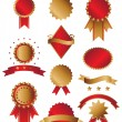 Classic gold and red awards - Stock Vector