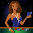 Beauty woman holding cards - Imagens vectoriais em stock