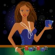 Beauty woman holding cards - Image vectorielle