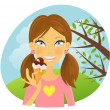 Girl eating ice-cream in the park — Stock Vector