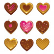 Heart shapes sweet cakes - Stock Vector