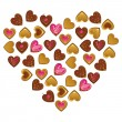 Stock vektor: Heart shape sweet cakes