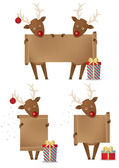 Reindeers holding scroll banner — Stock Vector