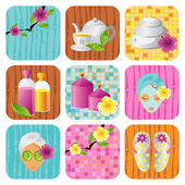 Spa salon icon vector set — 图库矢量图片