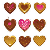 Heart shapes sweet cakes — Stock Vector