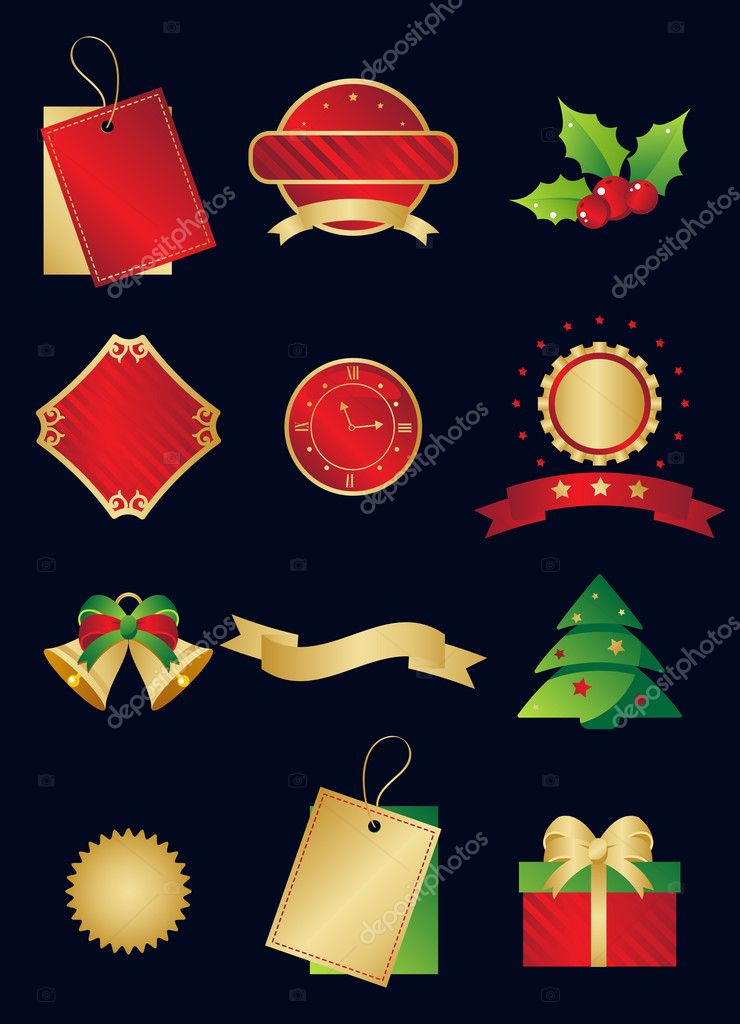 Christmas and New Year icon set — Stock Vector #2973402